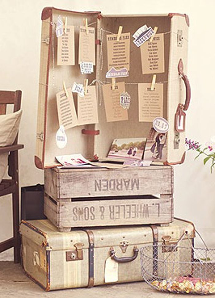 Rustic vintage suitcases displayed as seat charts - such a great idea #wedding #vintage #rustic #seatchart #diywedding