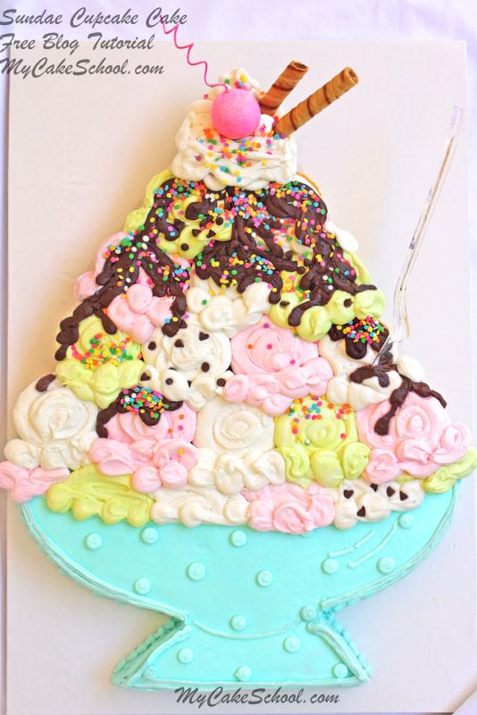 An adorable cupcake-cake Sundae!  Learn to make it in MyCakeSchool.com's free blog tutorial!