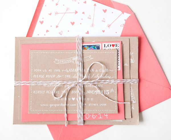 Oh So Beautiful Paper: Julie + Ryan's Kraft and Coral Wedding Invitations