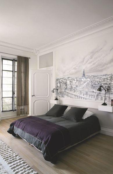 Chambre parentale moderne dans une maison bourgeoise à Paris. Plus de photos sur Côté Maison http://petitlien.fr/7slz