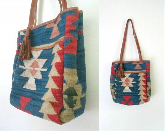 Aztec Wool Leather Shoulder Bag Vintage Kilim Handbag