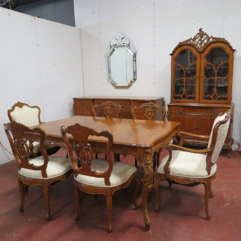 SOLD Vintage Antique French Style Ornate 9 Piece Walnut