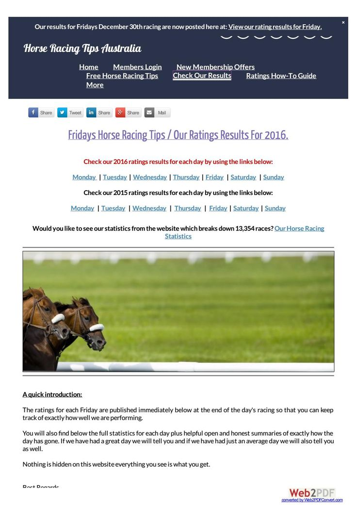 Fridays December 30th 2016 Horse Racing Tips Today's Results