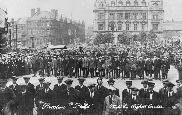 Volunteer recruits for the 'Preston Pals' lining up outside Preston Town Hall.