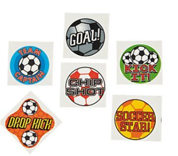 Soccer Ball Tattoos.  Show off your team spirit by wearing a temporary tattoo to the soccer match!