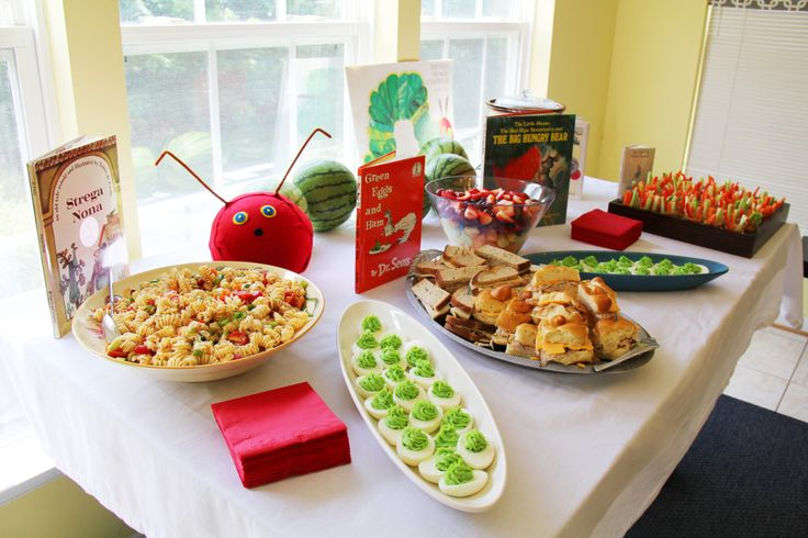 storybook themed baby shower books serve as food cards and mom to