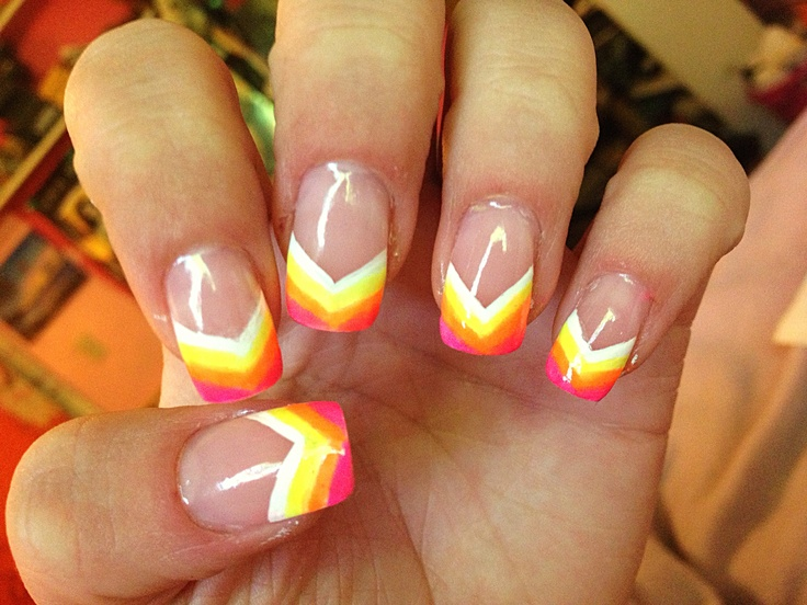Neon Rainbow Painted Nail Tips Acrylic Nail Design Art Great For The Summer Nail Designs By