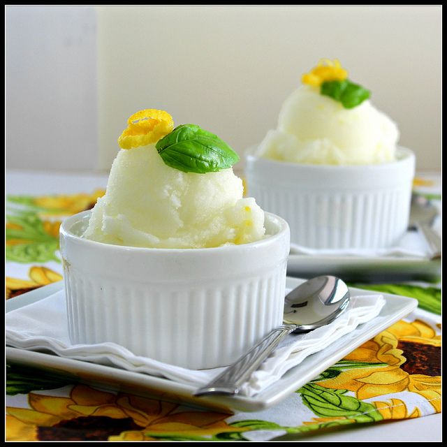 Lemon and Basil Sorbet by @Shirley Goh