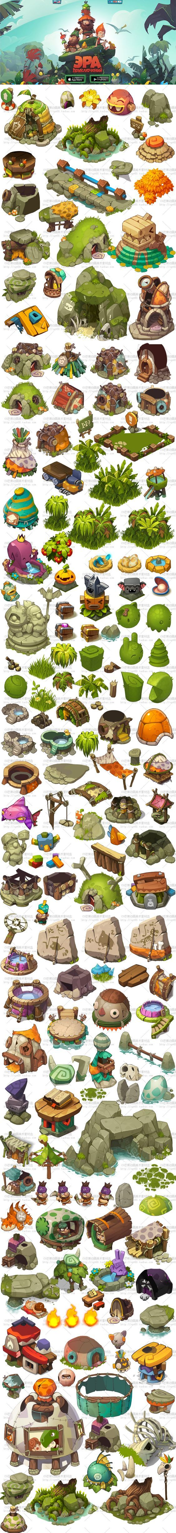 【游戏美术素材】俄罗斯手游《石器大冒险》可爱Q版UI素材/场景元素/房屋/地表: