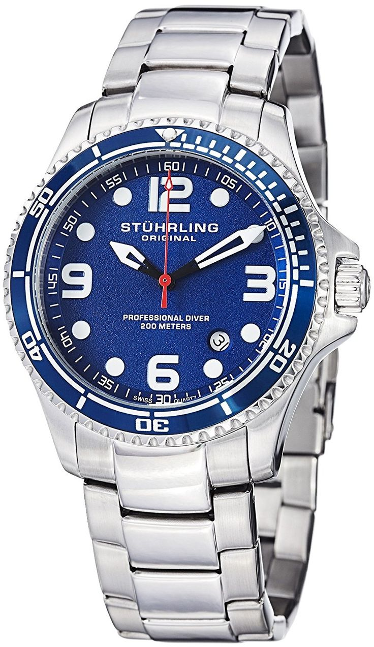 "Stuhrling Original Watches Mens ""Specialty Grand Regatta"" Stainless Steel Professional Swiss Quartz Dive Watch * You can get more details by clicking on the image."