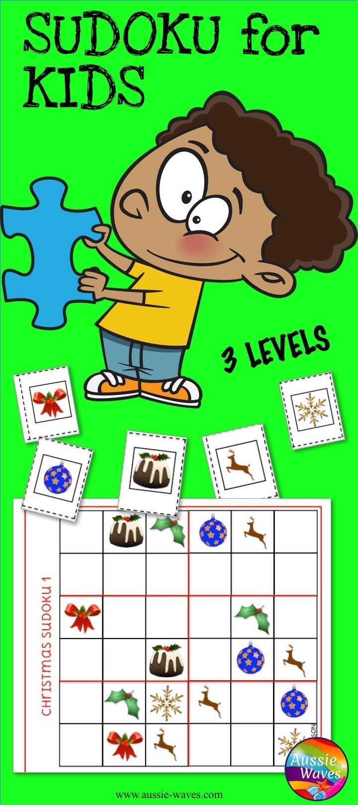 Sudoku for kids! Christmas printable activities. Logical thinking puzzles. Sy=tart easy and build skills.