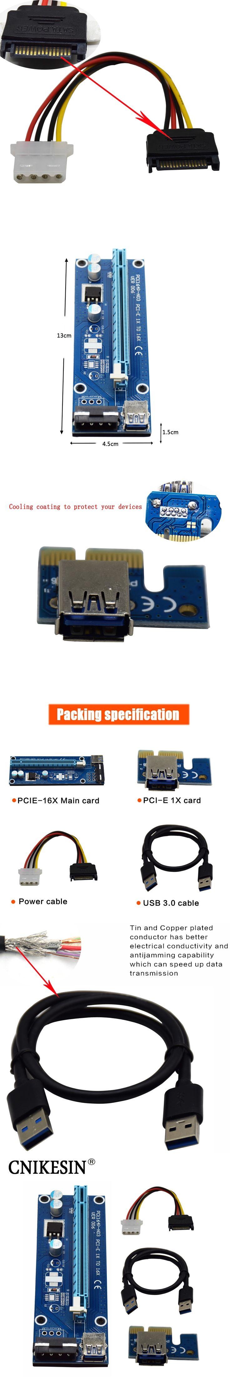 CNKESIN PCIe PCI-E PCI Express Riser Card 1x to 16x USB 3.0 Data Cable SATA to 4Pin IDE Molex Power Supply for BTC Miner Machine