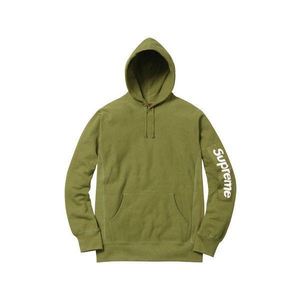 Supreme Sleeve Patch Hooded Sweatshirt ($148) ❤ liked on Polyvore featuring tops, hoodies, hoodie top, sweatshirt hoodies, green hoodies, sleeve hoodie and sleeve top
