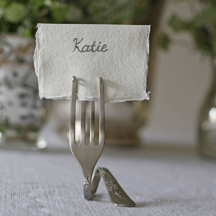Set Of Four Fork Place Card Holders