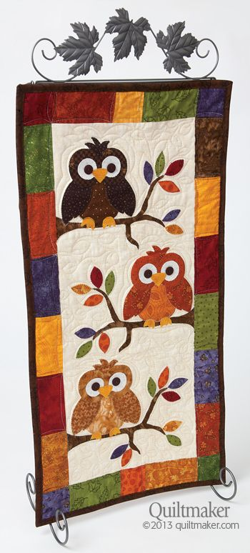 Pattern: Fall Skinnie: Fall Skinny, Patterns Img, Little Owl, Owl Wallhang, Owl Quilts Patterns, Fall Quilts Patterns, Favorite Quiltmak, Quilts Owl, Owl Design
