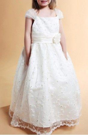 A-line Square Floor-length Lace Flower Girl Dress