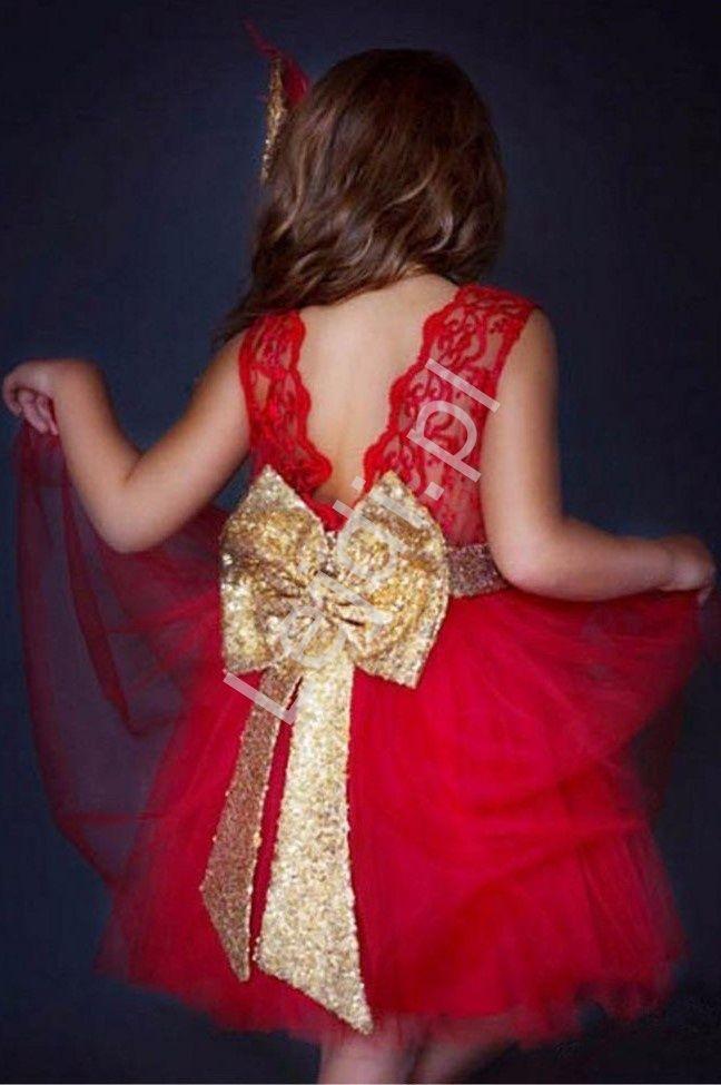 Tiulowa Sukienka Dla Dziewczynki Czerwona Z Cekinowym Zlotym Paskiem I Kokarda Girls Formal Dresses Lace Christening Gowns Girls Sequin Dress