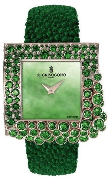-Gorgeous - de GRISOGONO emerald and diamond watch with stingray band.