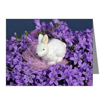 Easter Bunny Surrounded by Purple Flowers Note Cards