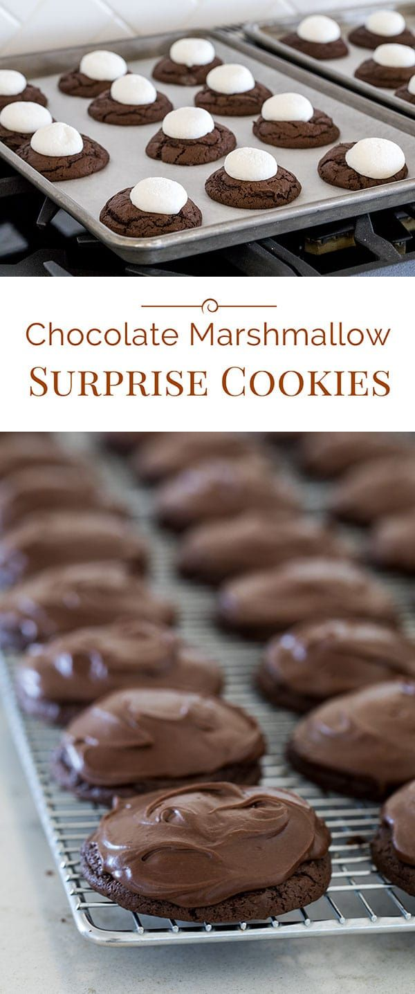 These Chocolate Marshmallow Surprise Cookies have a fudgy cookie base topped with a gooey, baked marshmallow that's covered with a rich chocolate icing.
