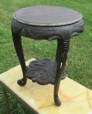 винтажный Азиатский стиль слон на подставке дисплей стол стойка завода резной деревянный
