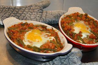 Groene en Witte bonen met spek en ei