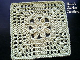 "Nana's ""Summer Trellis Bloom"" Square - free 8"" square pattern by Des Maunz / Nana's Crochet Creations. https://www.facebook.com/notes/nanas-crochet-creations/nanas-summer-trellis-bloom-square/861152657303134"