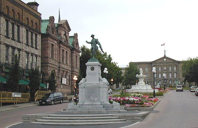 Court House Ave., Brockville, ON. War Memorial, erected 1924; John H. FULFORD Memorial Fountain; Gen. Sir Isaac BROCK Monument; Brockville Court House.