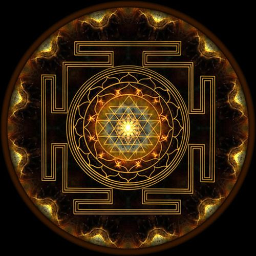 This is the Sri Yantra, one of the oldest and most powerful symbols. It's the Hindu symbol for Creativity and Enlightenment. It is conceived as a place of spiritual pilgrimage. It represents the cosmos at the macrocosmic level and the human body at the microcosmic level 〰each of the circuits correspond to a chakra of the body.