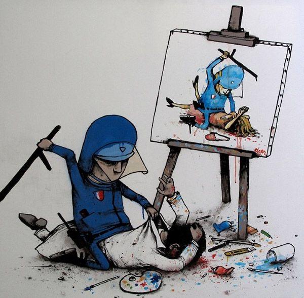 trabalho do artista de rua francês Dran