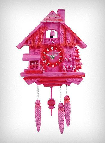 """Modern Vintage Pink Cuckoo Clock  Retro style meets space age materials in this modern take on the classic German design. This fun pink plastic Cuckoo Clock is sooo kitsch and cute! The little birdie at the top, and the pendulum at the bottom both move back and forth with the second hand. It is the perfect addition to any retro or eclectic decor ♥  * 6.5"""" x 14"""" x 1.5""""  * Requires 1 AA Battery (Not Included)     * NOTE: T..."""
