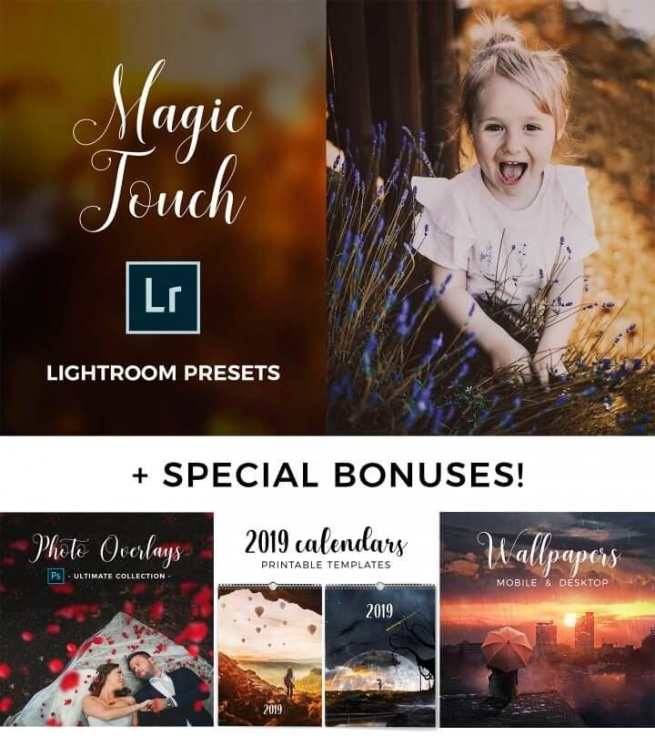 SPECIAL OFFER - Magic Touch Lightroom Presets + Bonuses Lightroom Presets + BONUSES: Photo overlays + Desktop & mobile wallpapers + 2019 Calendar templates <a class=