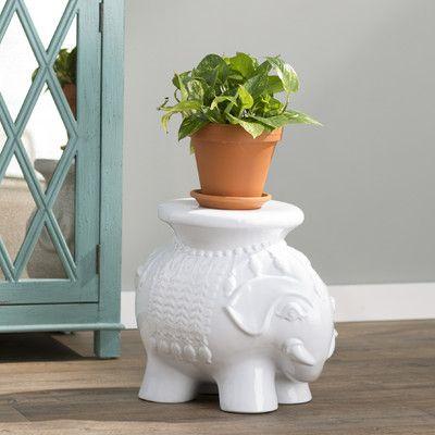 Bungalow Rose Santa Elephant Garden Stool Color White 400 x 300