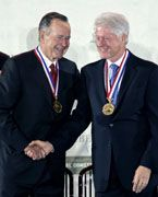 1/20/2005 WILLIAM JEFFERSON CLINTON: George H.W. Bush & William J. Clinton - National Constitution Center recipients of the Liberty Medal for their encouragement of Americans to support relief & recovery efforts to aid the victims after Hurricane Katrina, 9/11, the South Asian Tsunami & in Haiti following the earthquake & hurricane.