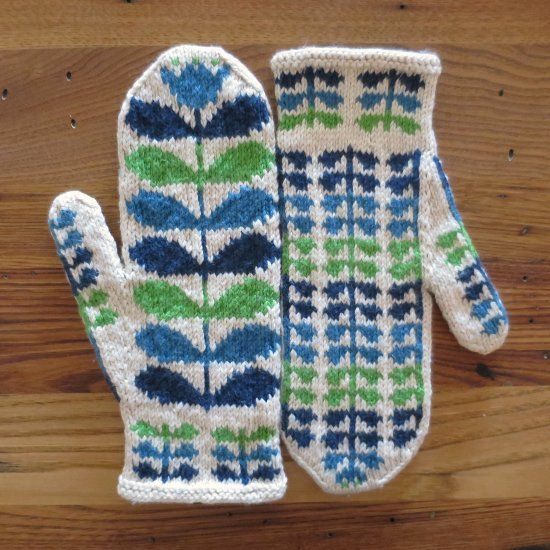 Knit up a pair of mittens inspired by the designer Orla Kiely with this free pattern.