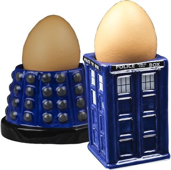 Doctor Who - TARDIS & Dalek Egg Cup Set NEW dr who kitchenware