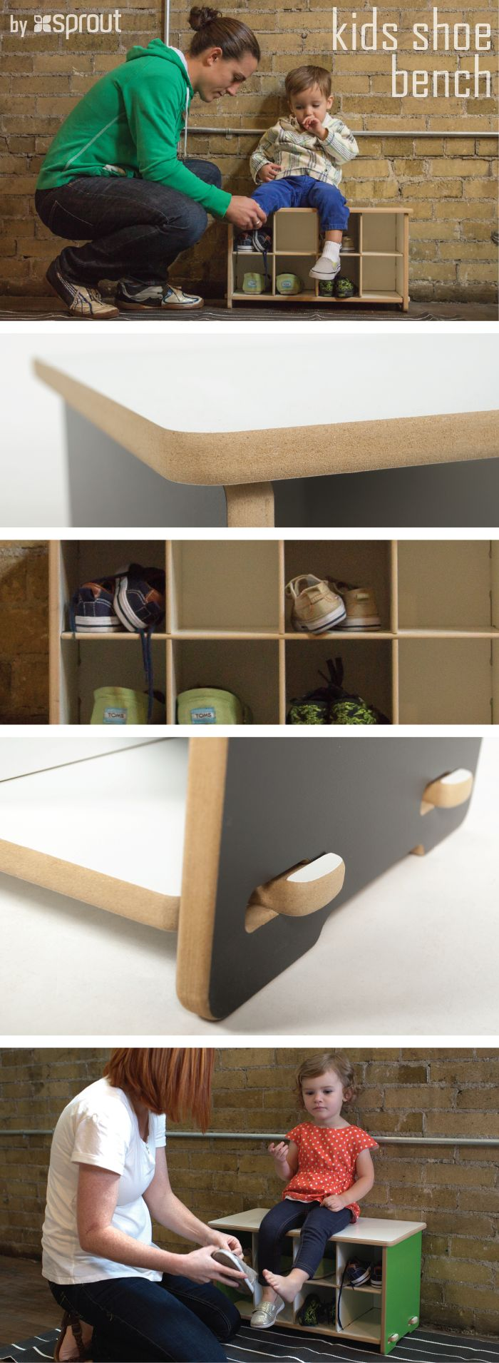 A shoe bench perfectly sized for kids! Perfect for the playroom!