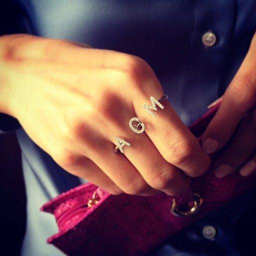 Fancy - Personalized Diamond Monogram Ring by Plukka