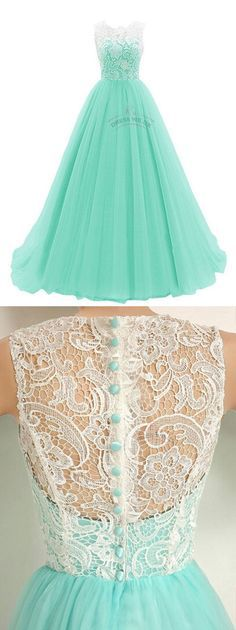 A45 O Neck Sleeveless Lace Top Mint Tulle Long Prom Dresses, Real Made Prom Dresses