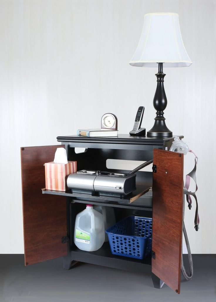 modern Nightstand for CPAP machine with lamp