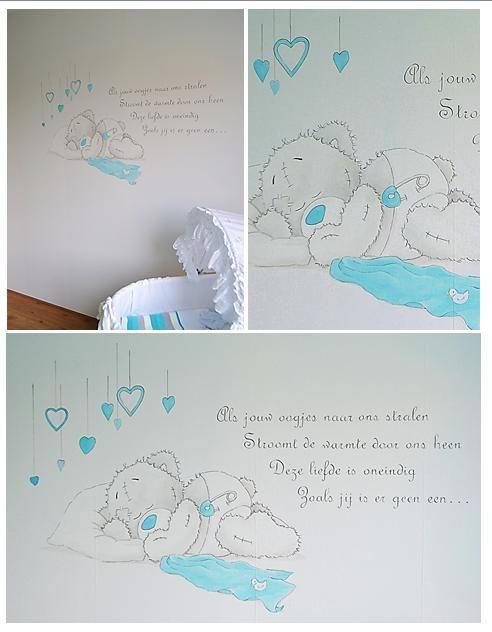 Slapend Me to You beertje met gedichtje | muurschildering | babykamer | www.groeneballon.nl | Den Haag