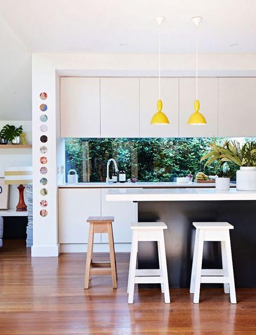 open kitchen / yellow lighting