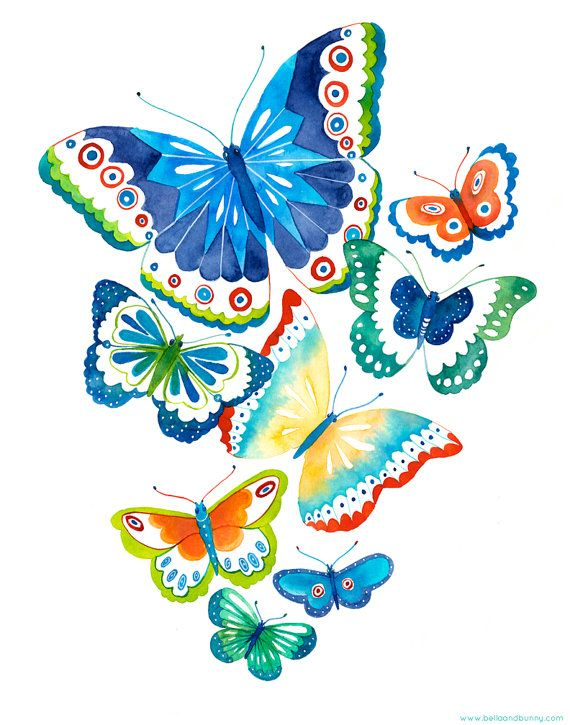 Butterfly print Spring Flutter by BellaAndBunny on Etsy