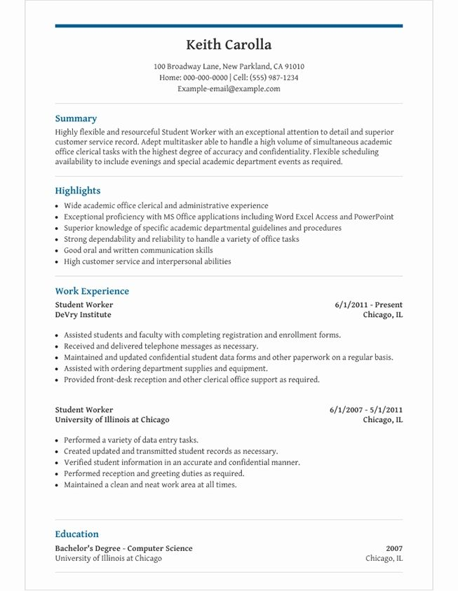 High School Student Resume Template For Microsoft Word