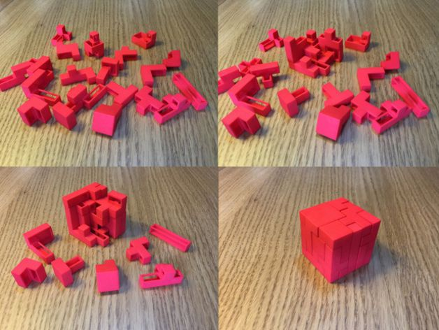 """One of the more successful designs from my shapeways shop, this 3D jigsaw puzzle, made of 21 unique pieces, is sure to challenge you and your friends.  I hope you enjoy! and please let me know what you think!   A """"surface map"""" guide to the solution is in the images (looking """"outside-in"""").  For the record, it took my brother and his wife about 2 hours to get about halfway without the use of the surface map, and since they had to go I gave them the map and it took them another half hour to…"""