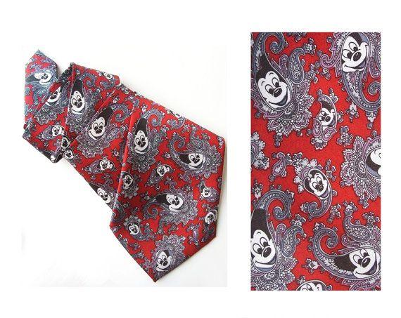 Mickey mouse  tie vintage disney necktie paisley pure by MensSilk