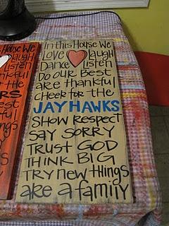 Cute twist on the family rules. Rock Chalk Jayhawk