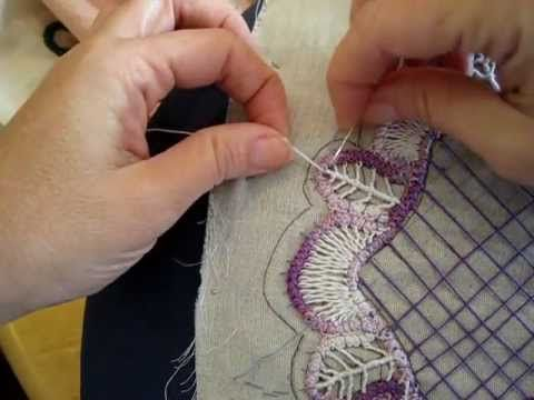 Filling Stitch for a leaf in Romanian Point Lace { Good for filling oval shapes, as well.}    photo tutorial that goes with this video http://sunshinescreations.vintagethreads.com/2012/01/jan-rplal-round-doiley-tutorial.html  more information on my blog  http://sunshinescreations.vintag...