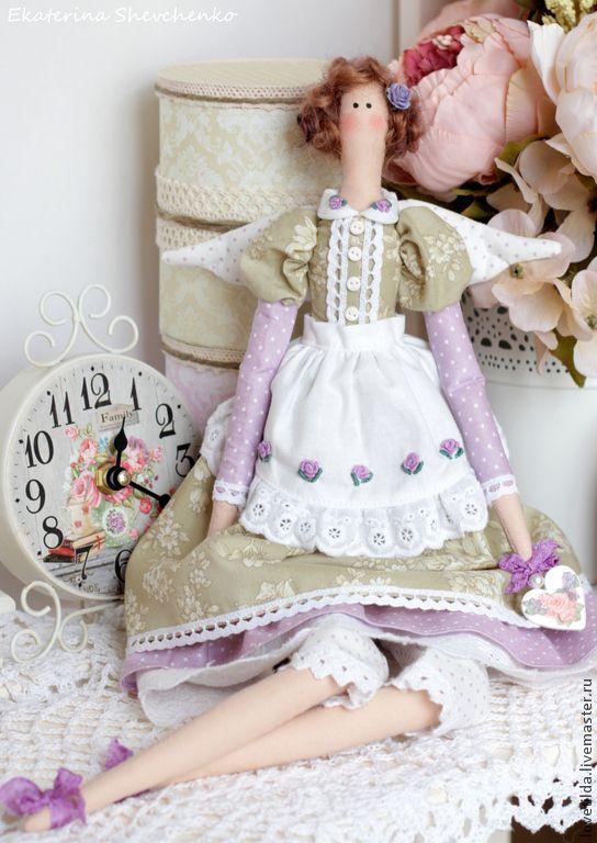 """Купить Ангел гармонии """"Валери"""" - кукла в стиле Тильда - оливковый, сиреневый, лавандовый, тильда, ангел"""