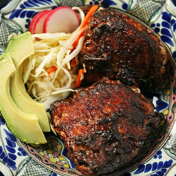 Red Chile Marinated Grilled Chicken ~ Chicken pieces marinated in a spicy, flavorful red chili sauce, then grilled or baked.  Pollo adobado recipe. ~ SimplyRecipes.com